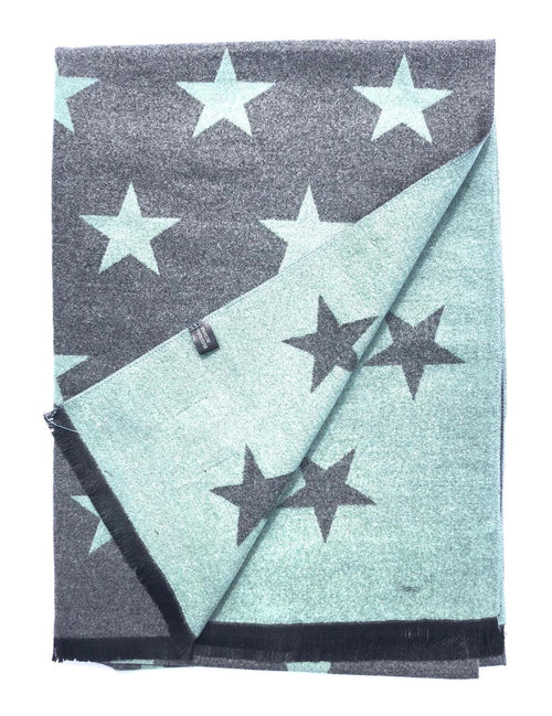 House Of Tweed  Large Scarves-Star Green/Grey