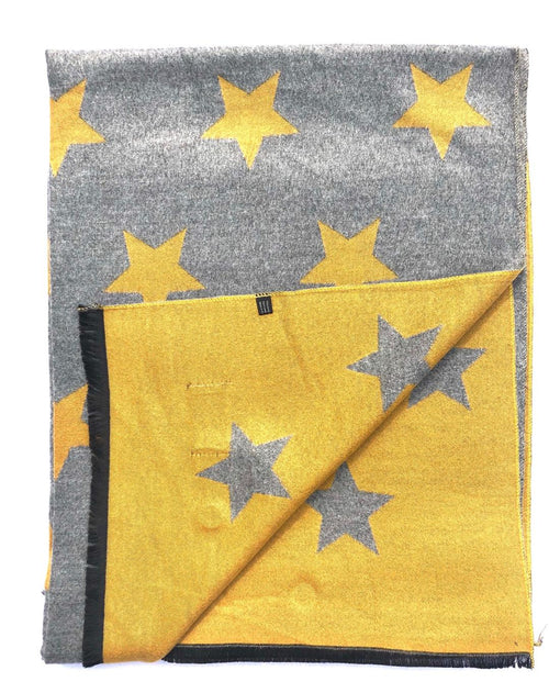 House Of Tweed  Large Scarves-Star Mustard/Light Grey