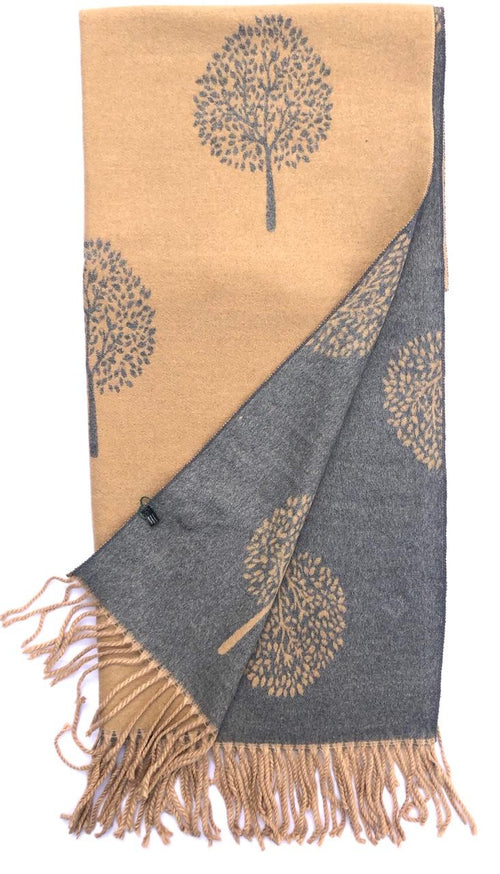 House Of Tweed  Large Scarves With Tassel Mulberry Tree -Light Brown/Grey