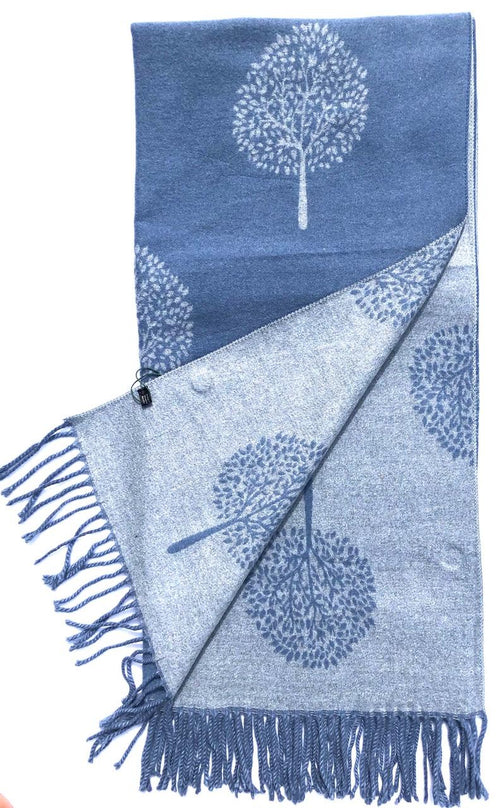 House Of Tweed  Large Scarves With Tassel Mulberry Tree -Blue/Grey