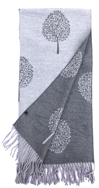 House Of Tweed  Large Scarves With Tassel Mulberry Tree -Dark Grey/Grey