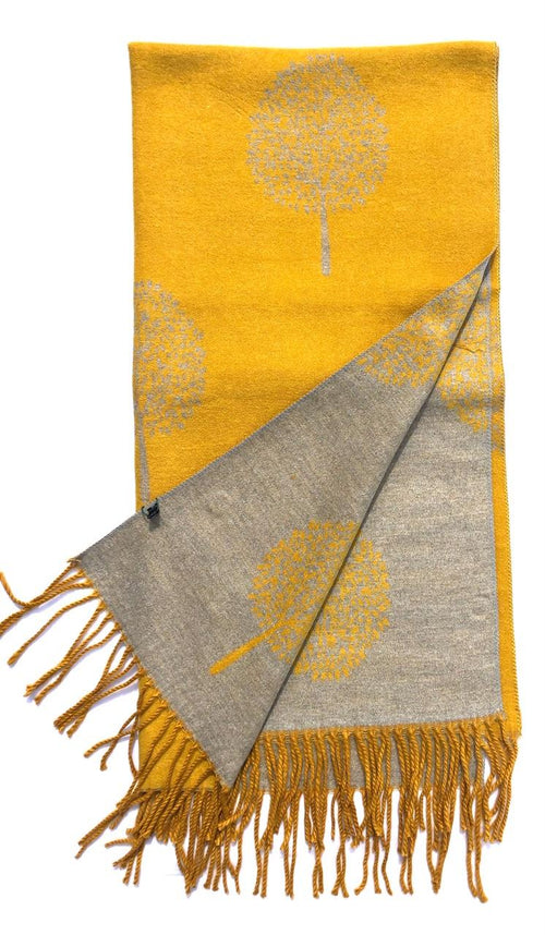 House Of Tweed  Large Scarves With Tassel Mulberry Tree -Mustard/Light Grey