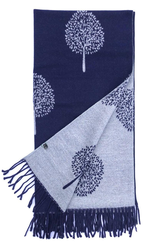 House Of Tweed  Large Scarves With Tassel Mulberry Tree -Navy/Grey