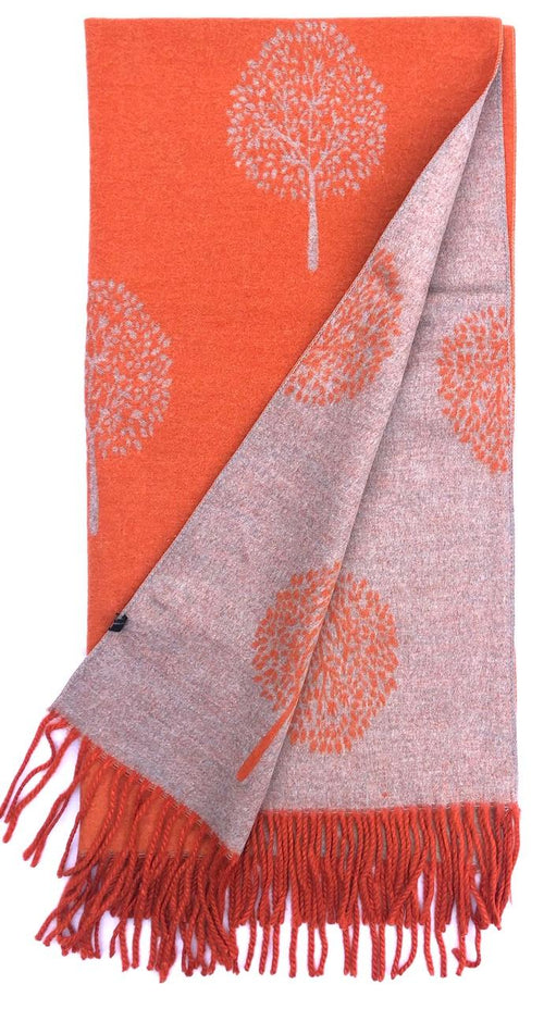 House Of Tweed  Large Scarves With Tassel Mulberry Tree -Orange/Light Grey