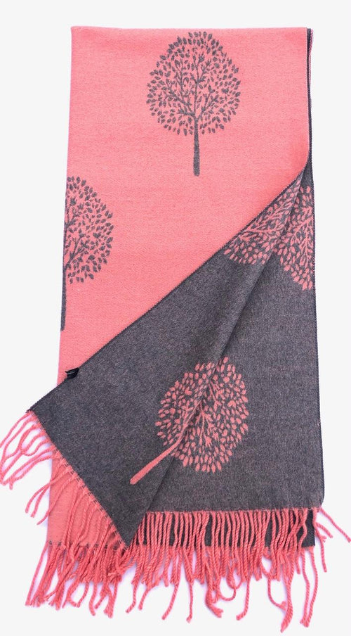 House Of Tweed  Large Scarves With Tassel Mulberry Tree -Pink/Grey