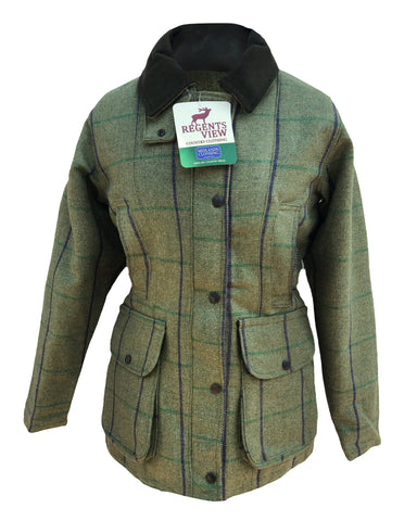 Regents View Women Stylish Tweed Coat - Yellow & Pink Stripe