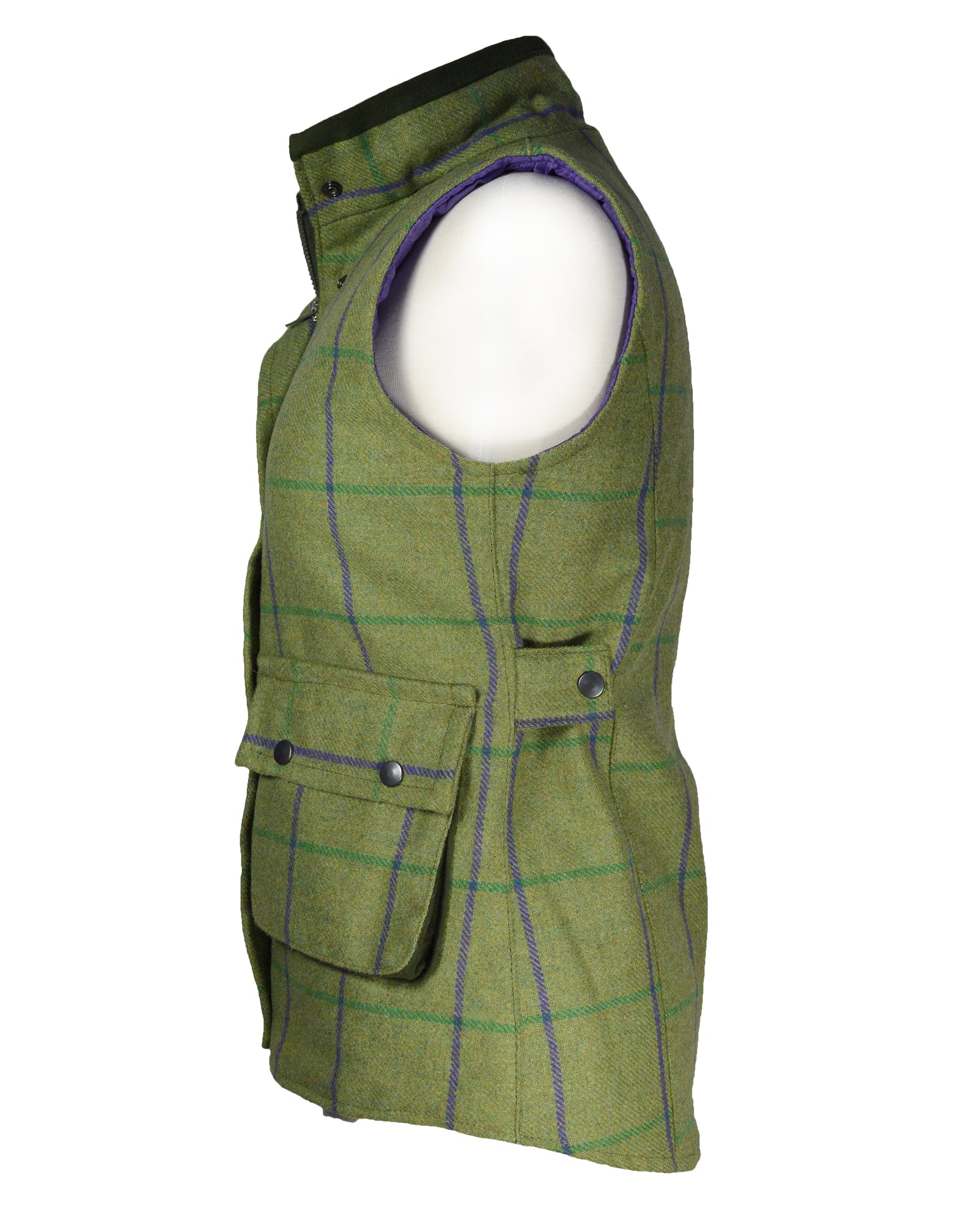 Green Belt Womens Satin Lined Tweed Bodywarmer - Green & Purple