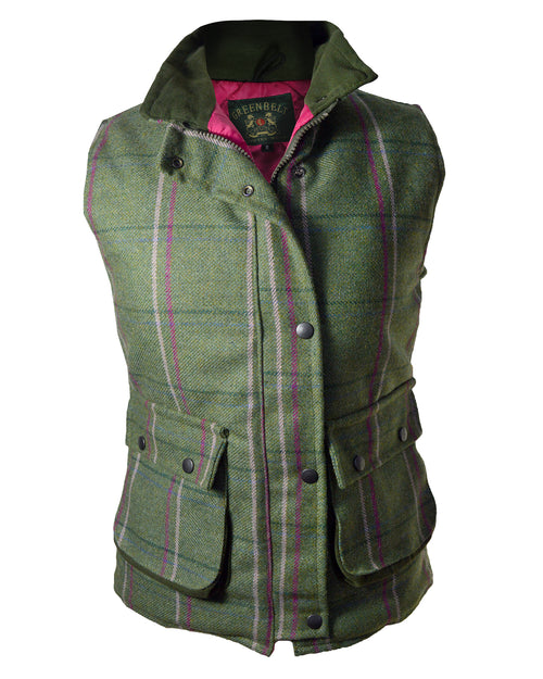 Green Belt Womens Satin Lined Tweed Bodywarmer - Pink & Purple