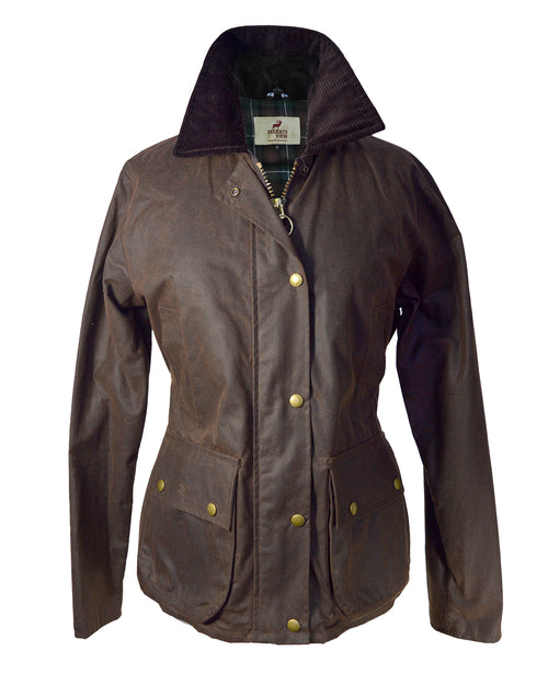 Regents View Womens Premium Fitted 100% Waxed Cotton Jacket - Brown