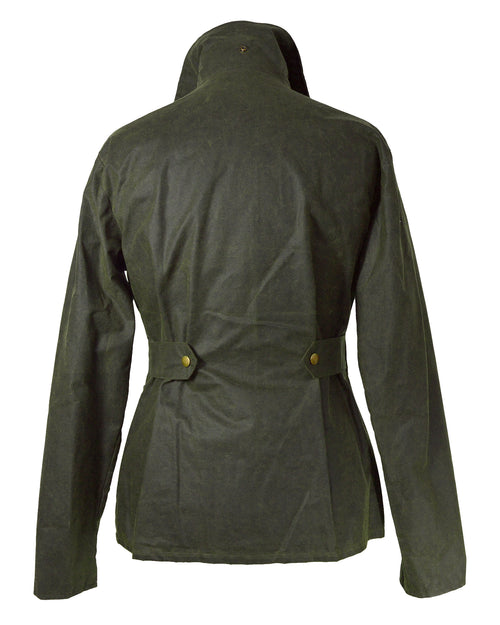 Regents View Womens Premium Fitted 100% Waxed Cotton Jacket - Olive Green