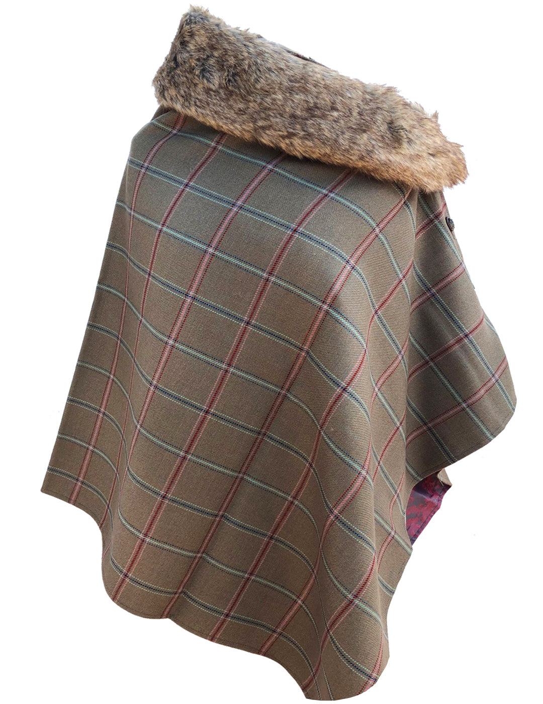Ladies Tweed Poncho Cape Wrap 2-Tone Satin Lining & detachable Faux Fur Collar-Pink