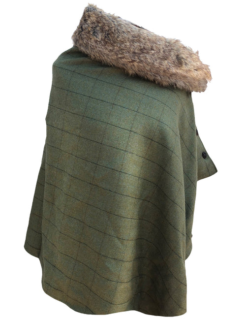 Ladies Tweed Poncho Cape Wrap 2-Tone Satin Lining & detachable Faux Fur Collar-Olive
