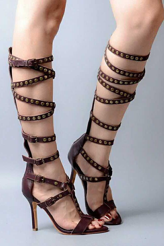 Rivets Straps Cross Open Toe Back Zipper Stiletto High Heels Long Boot Sandals