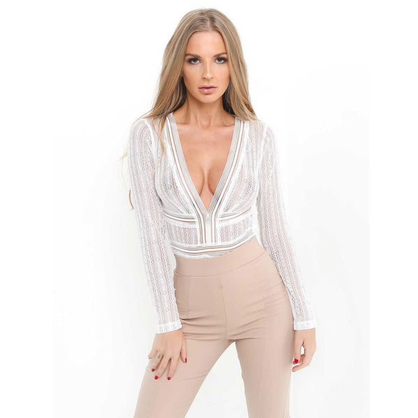 Hollow Transparent Long Sleeves V-neck Pure Color Open Back Short Jumpsuits