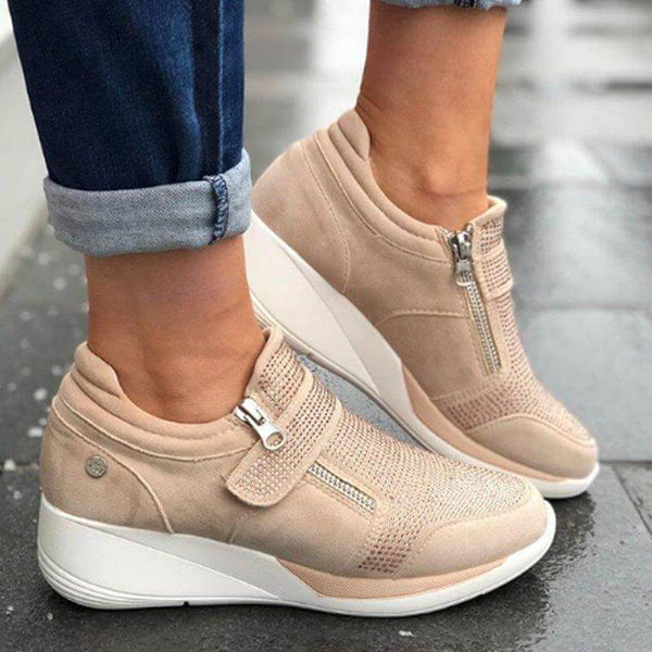 Chunky Suede Velcro Zipper Sneakers