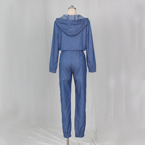Zipper Denim Long Hoodie Jumpsuit