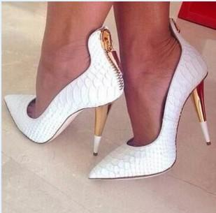 White Point Toe Zipper Ankle Pumps
