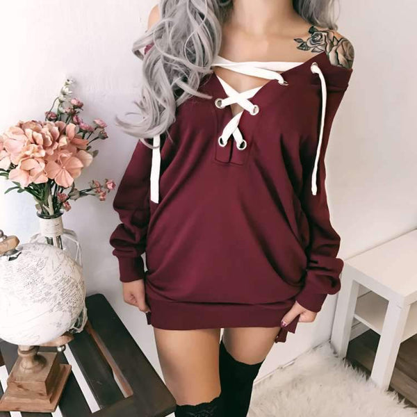 Straps Cross Short Hoodie Bodycon Dress
