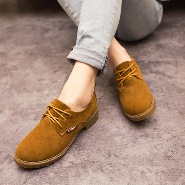 British Retro Round Head Lace Up Oxford Boots