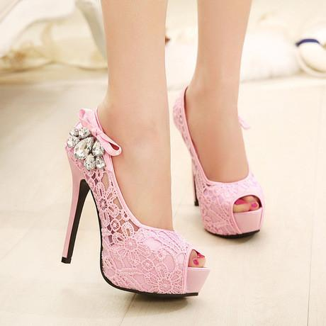 Sexy Lace Peep Toe Stiletto Heel Shoes