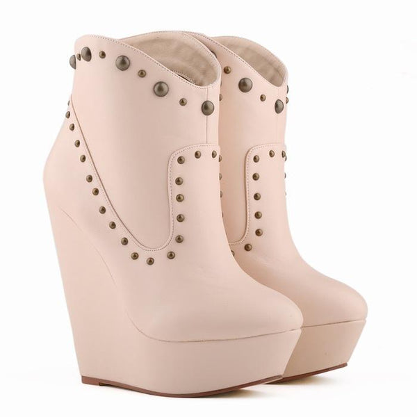 Rivets PU Slope Heel Round Toe Short Wedge Boots