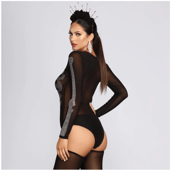 Black Two Piece Rhinestone See Through Mesh Jumpsuit