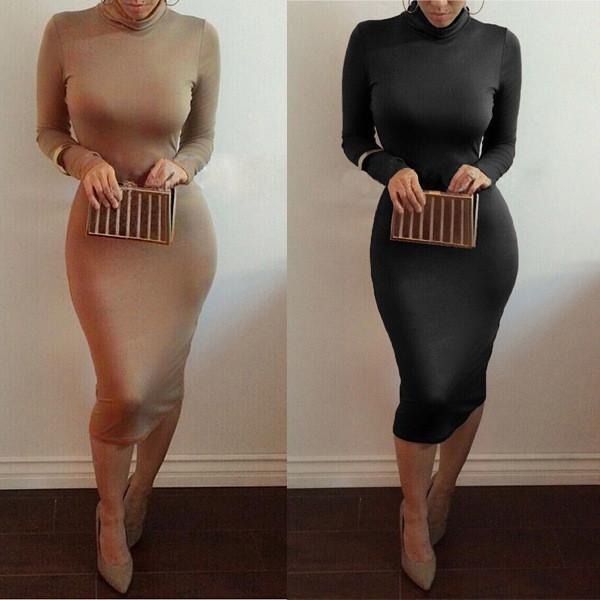 High Neck Long Sleeves Bodycon Pure Color Party ClubDress - Shoes-Party - 7