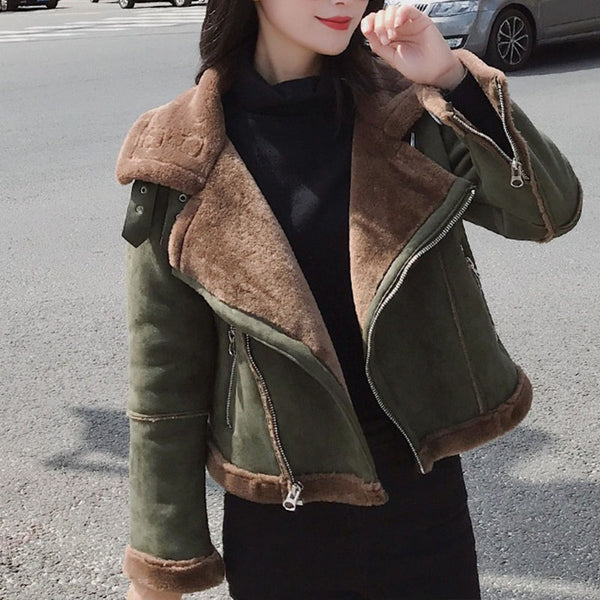 Green Shearling Suedette Jacket