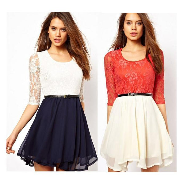 Lace Splicing Short Chiffon With Belt Dress - Shoes-Party - 1