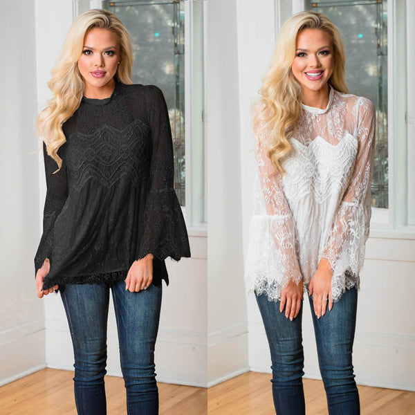 Scoop Lace Pure Color Patchwork Long Sleeves Long Blouse