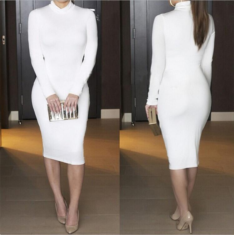 High Neck Long Sleeves Bodycon Pure Color Party ClubDress - Shoes-Party - 4