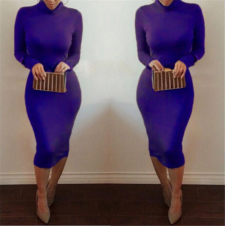High Neck Long Sleeves Bodycon Pure Color Party ClubDress - Shoes-Party - 9