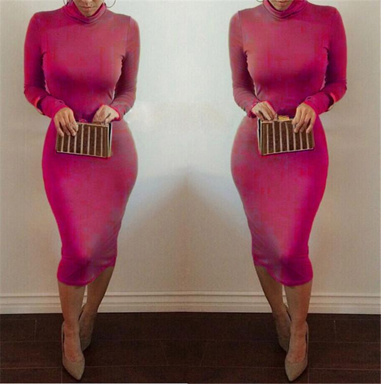 High Neck Long Sleeves Bodycon Pure Color Party ClubDress - Shoes-Party - 6