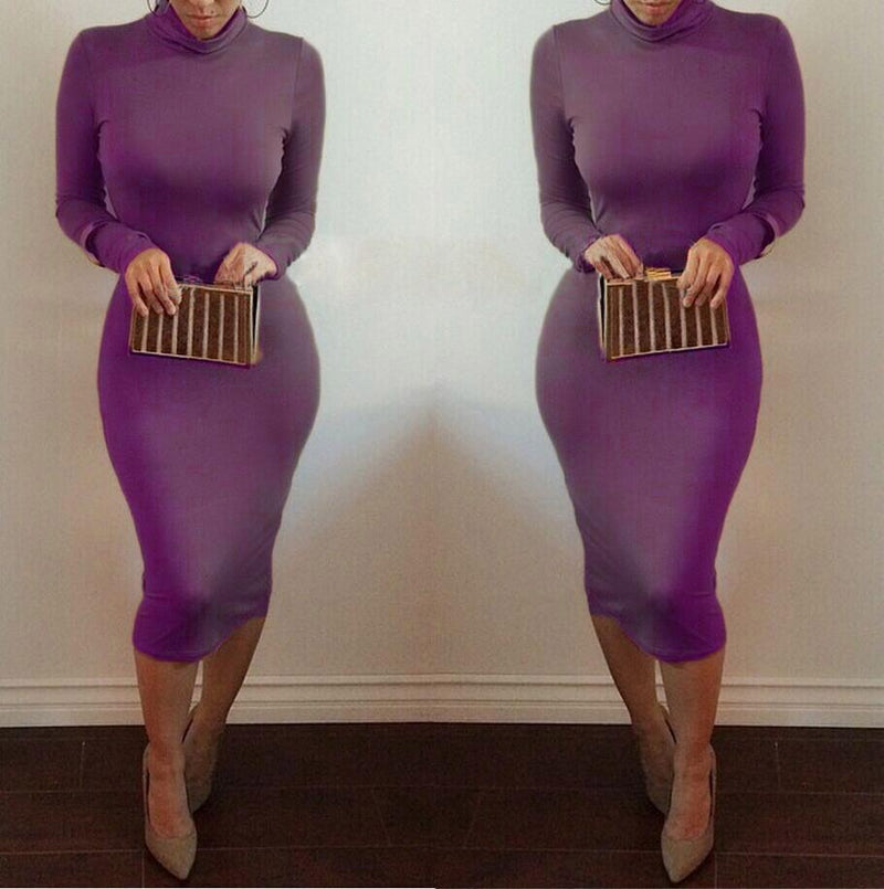 High Neck Long Sleeves Bodycon Pure Color Party ClubDress - Shoes-Party - 8