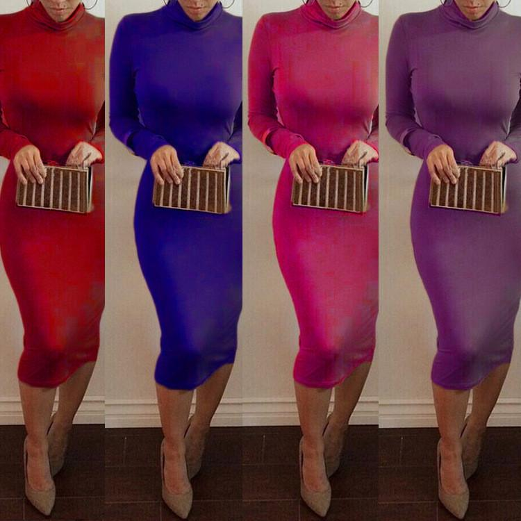 High Neck Long Sleeves Bodycon Pure Color Party ClubDress - Shoes-Party - 12