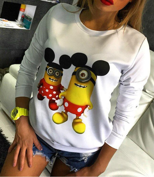 Cartoon Print Pullover Long Sleeve T-shirt - Shoes-Party - 2