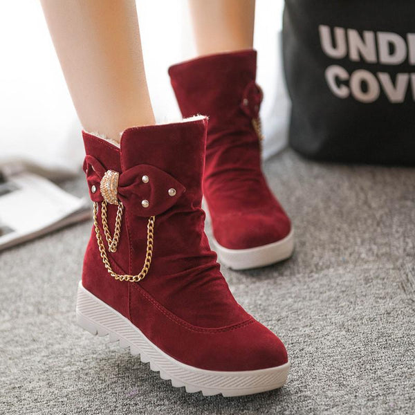 Thick Bottom Increased Metal Chain Short Boots