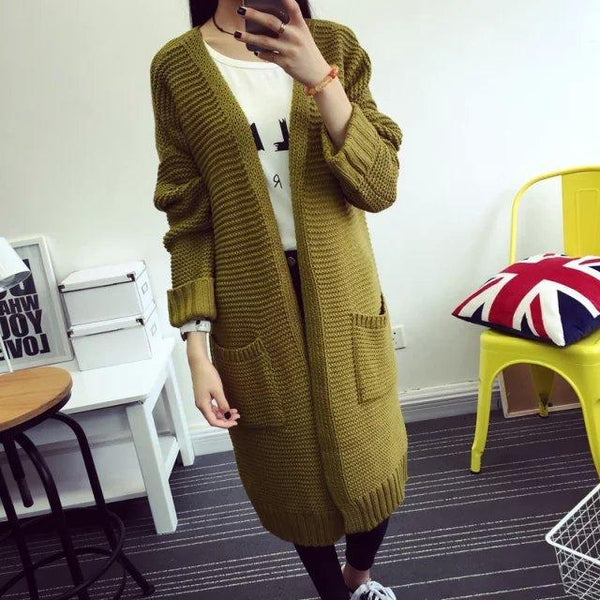 Women's Loose Double Pockets Knitted Cardigan Sweater