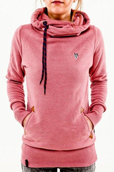 Embroidered Pocket Pure Color Womens Hoodie - Shoes-Party - 2