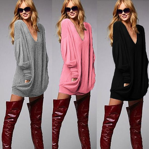 Deep V-neck Fashion Casual Long Sleeves Bodycon Sweater - Shoes-Party - 1