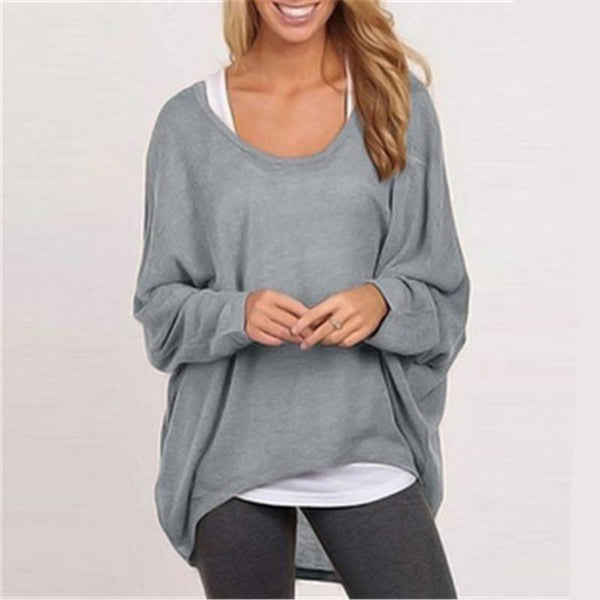 Loose Long Sleeves Irregular Pullover Sweater Top - Shoes-Party - 1