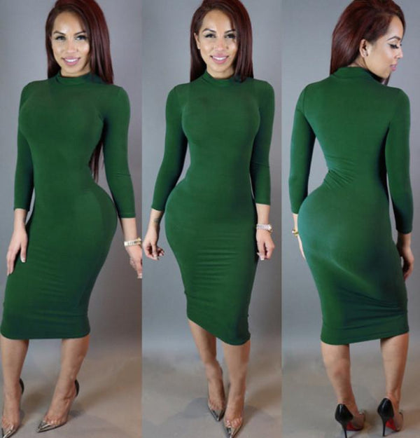 High Neck Long Sleeves Bodycon Pure Color Party ClubDress - Shoes-Party - 1