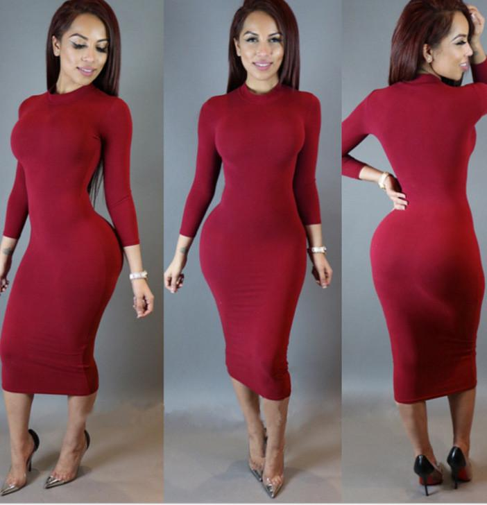 High Neck Long Sleeves Bodycon Pure Color Party ClubDress - Shoes-Party - 3