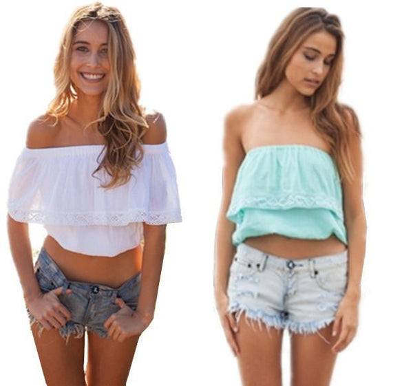 Strapless Pure Color Chiffon Crop Fly-away Top - Shoes-Party - 3