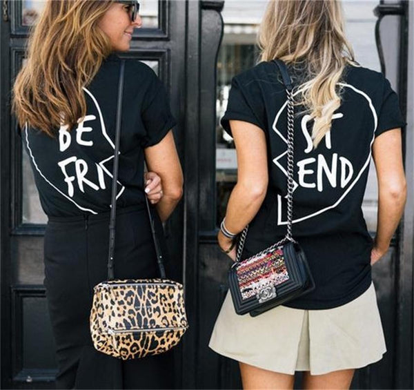 Best Friend Big Letter Print Scoop Top Tee - Shoes-Party - 1