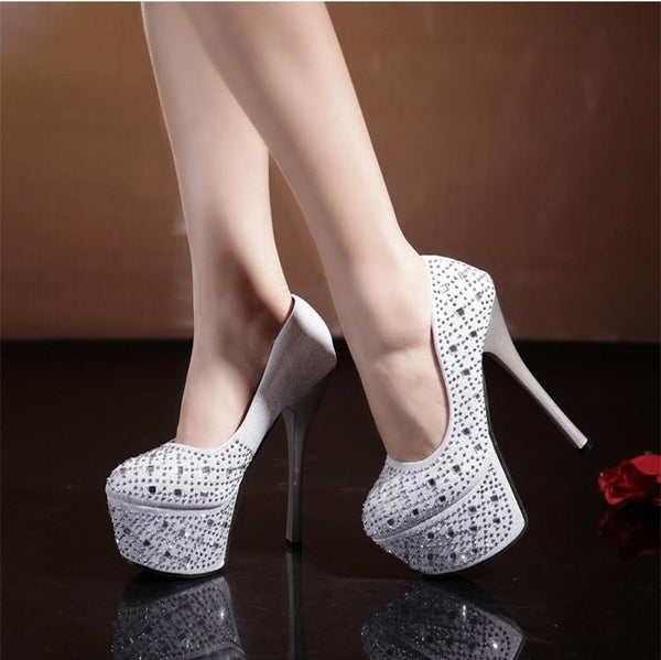 Shinning Sequins Platform Super High Heels Prom Shoes