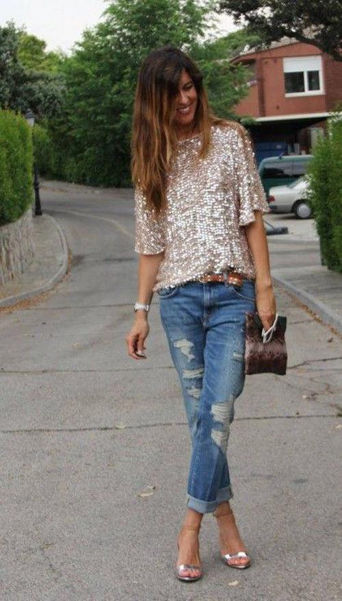 1/2 Sleeves Sequin Casual Loose Sexy Club Blouse - Shoes-Party - 3