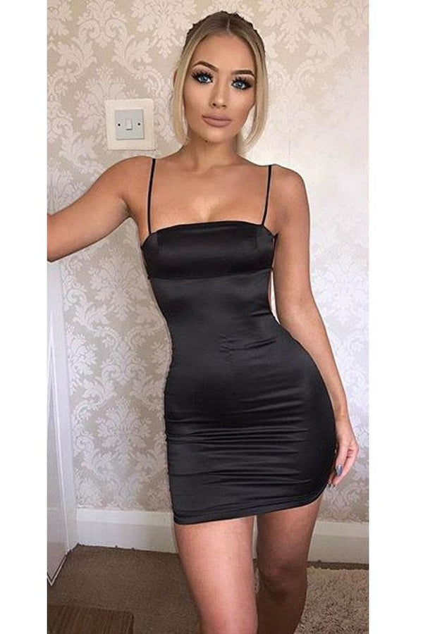 Spaghetti Straps Backless Bodycon Little Black Dress