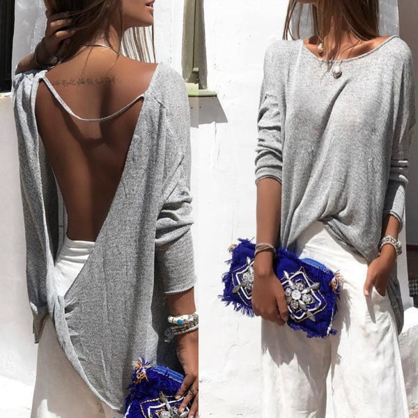 Backless Cross Scoop Long Sleeves Sexy Blouse