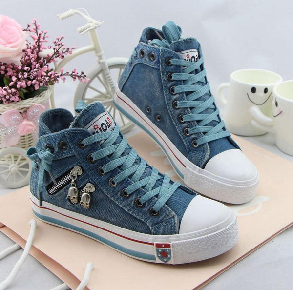 Unique Denim Skull Lace Up High Sneakers Shoes